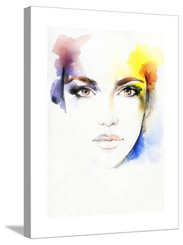 Woman Portrait .Abstract Watercolor-Anna Ismagilova-Stretched Canvas Print