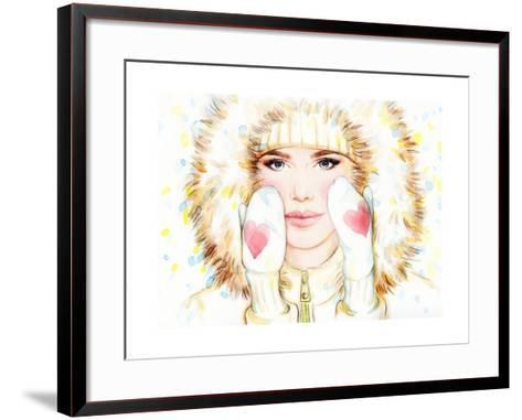 Woman in Fur Coat , Winter Accessories. Young Beauty Woman with Hat. Watercolor Illustration-Anna Ismagilova-Framed Art Print