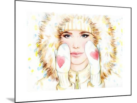 Woman in Fur Coat , Winter Accessories. Young Beauty Woman with Hat. Watercolor Illustration-Anna Ismagilova-Mounted Art Print