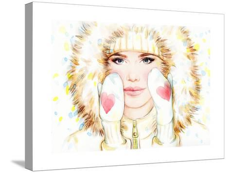 Woman in Fur Coat , Winter Accessories. Young Beauty Woman with Hat. Watercolor Illustration-Anna Ismagilova-Stretched Canvas Print