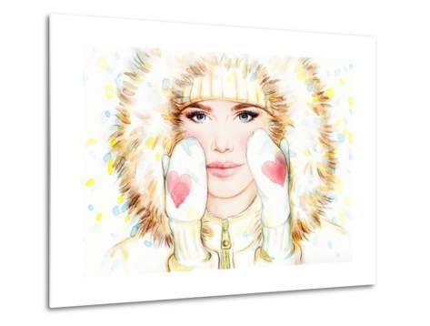 Woman in Fur Coat , Winter Accessories. Young Beauty Woman with Hat. Watercolor Illustration-Anna Ismagilova-Metal Print