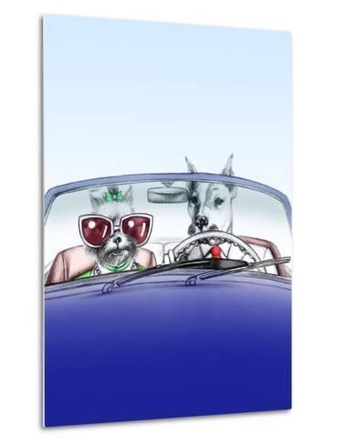 Dogs in Car .Fashion Animals .Watercolor Illustration-Anna Ismagilova-Metal Print