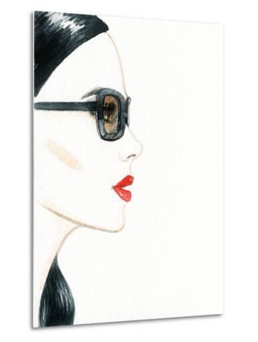 Woman Face with Glasses. Fashion Illustration-Anna Ismagilova-Metal Print