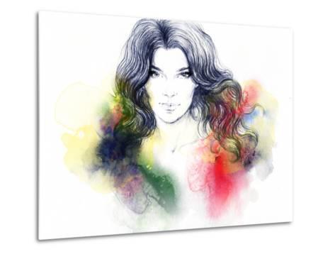 Woman Portrait .Abstract Watercolor .Fashion Background-Anna Ismagilova-Metal Print