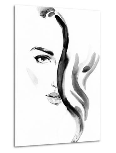 Woman Portrait .Abstract Watercolor .Fashion Background-Anna Ismagilova-Metal Print