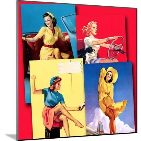 Traveling Pin-Ups-Piddix-Mounted Art Print