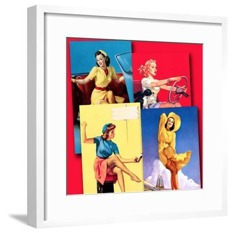Traveling Pin-Ups-Piddix-Framed Art Print