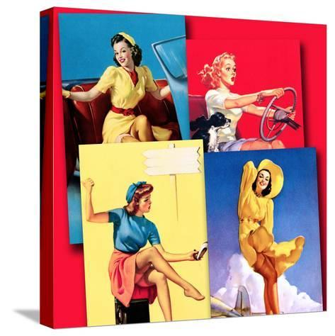 Traveling Pin-Ups-Piddix-Stretched Canvas Print