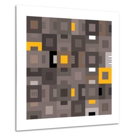 Geometric Abstract City Squares in Grey and Yellow-Robin Pickens-Metal Print