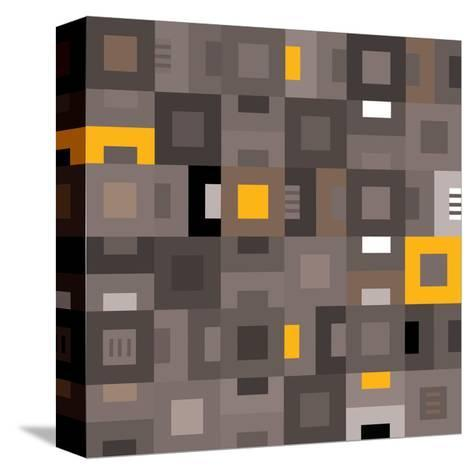 Geometric Abstract City Squares in Grey and Yellow-Robin Pickens-Stretched Canvas Print