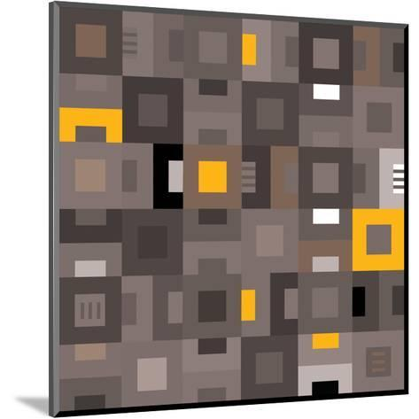 Geometric Abstract City Squares in Grey and Yellow-Robin Pickens-Mounted Art Print