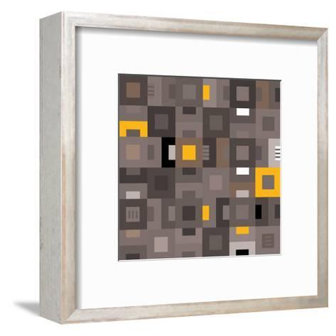 Geometric Abstract City Squares in Grey and Yellow-Robin Pickens-Framed Art Print