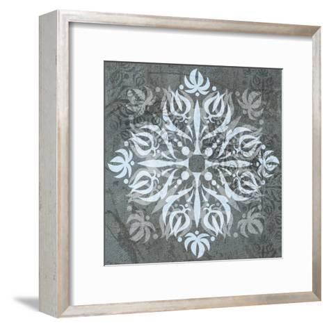 Modern Garden Roses, Romantic Blue and White, Decorative Diamond-Robin Pickens-Framed Art Print