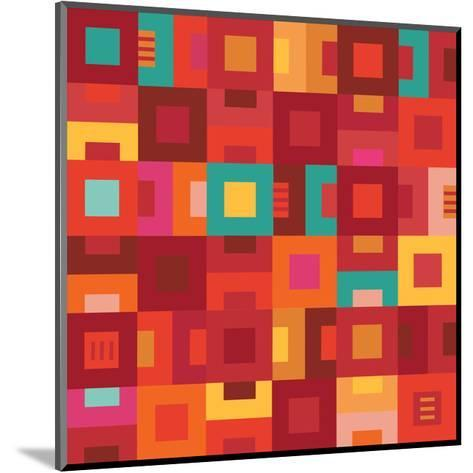 Geometric Abstract City Squares in Mesa Red Rust and Orange-Robin Pickens-Mounted Art Print