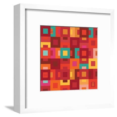 Geometric Abstract City Squares in Mesa Red Rust and Orange-Robin Pickens-Framed Art Print