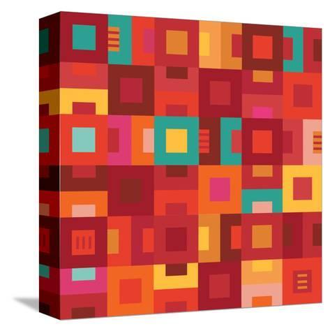 Geometric Abstract City Squares in Mesa Red Rust and Orange-Robin Pickens-Stretched Canvas Print