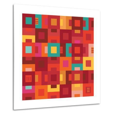 Geometric Abstract City Squares in Mesa Red Rust and Orange-Robin Pickens-Metal Print