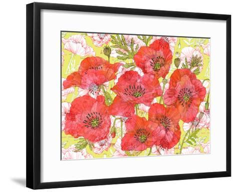 Red Romance Poppies, Group of Blooms and Floral Poppy-Robin Pickens-Framed Art Print