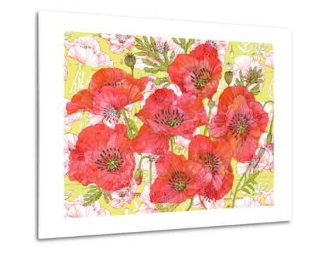 Red Romance Poppies, Group of Blooms and Floral Poppy-Robin Pickens-Metal Print