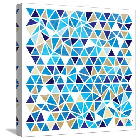 Triangles - Blue and Beige-Dominique Vari-Stretched Canvas Print