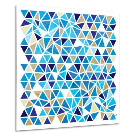 Triangles - Blue and Beige-Dominique Vari-Metal Print