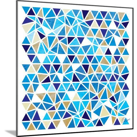 Triangles - Blue and Beige-Dominique Vari-Mounted Art Print
