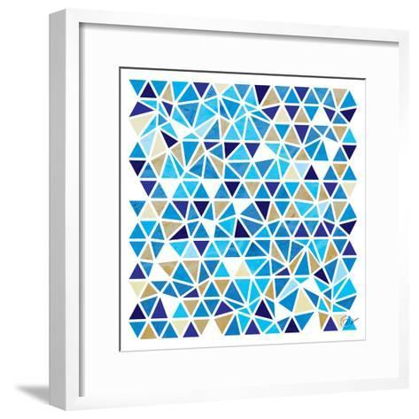 Triangles - Blue and Beige-Dominique Vari-Framed Art Print