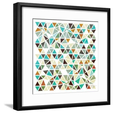 Triangles - Gold and Turquoise-Dominique Vari-Framed Art Print