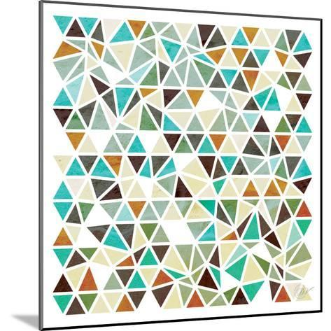 Triangles - Gold and Turquoise-Dominique Vari-Mounted Art Print