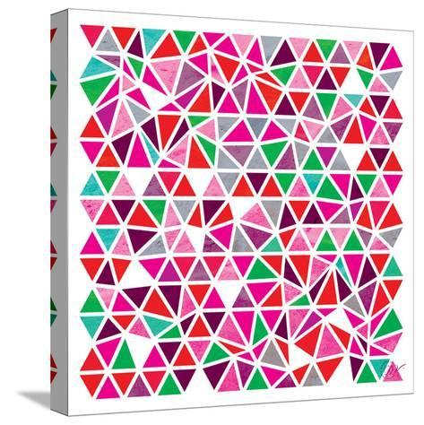 Triangles - Pink and Green-Dominique Vari-Stretched Canvas Print