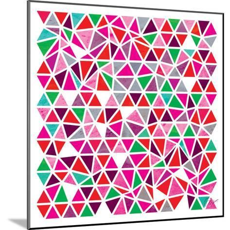Triangles - Pink and Green-Dominique Vari-Mounted Art Print