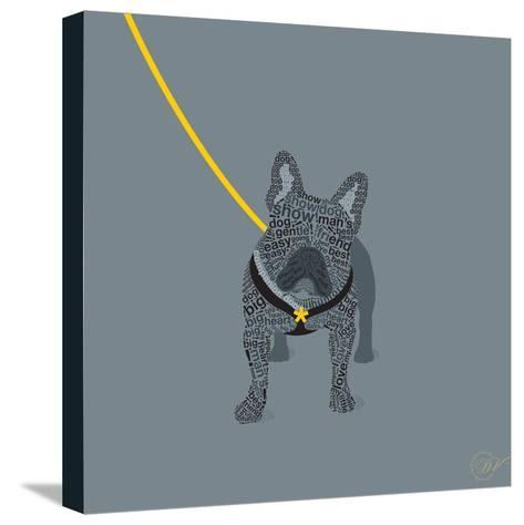 French Bulldog on Grey-Dominique Vari-Stretched Canvas Print