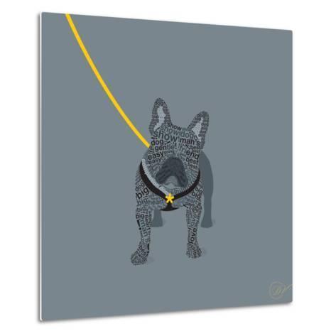French Bulldog on Grey-Dominique Vari-Metal Print