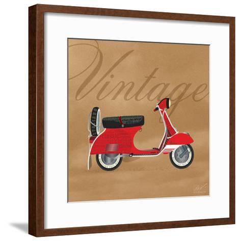 Vintage Vespa Red-Dominique Vari-Framed Art Print
