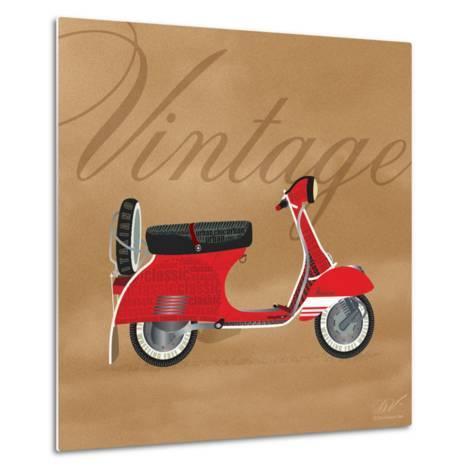 Vintage Vespa Red-Dominique Vari-Metal Print