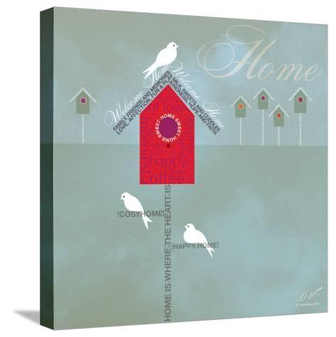 Bird House - Blue Grey-Dominique Vari-Stretched Canvas Print