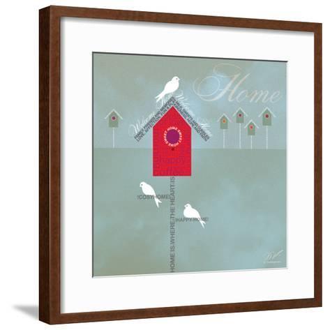 Bird House - Blue Grey-Dominique Vari-Framed Art Print