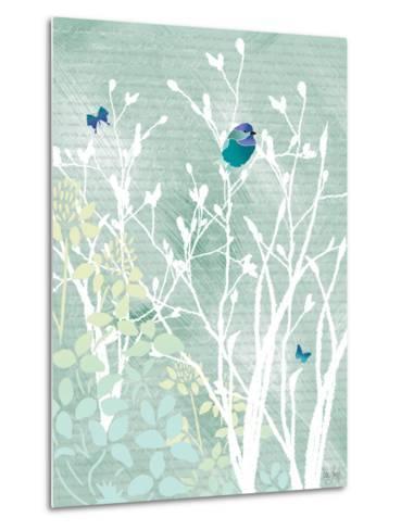 Chickadee on White Branches-Bee Sturgis-Metal Print