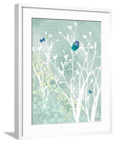 Chickadee on White Branches-Bee Sturgis-Framed Art Print