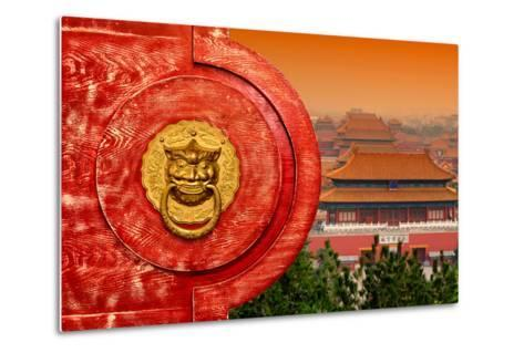 China 10MKm2 Collection - The Door God - Forbidden City Architecture-Philippe Hugonnard-Metal Print