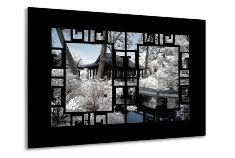 China 10MKm2 Collection - Asian Window - Another Look Series - Black Chinese Temple-Philippe Hugonnard-Metal Print