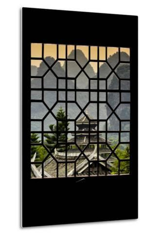 China 10MKm2 Collection - Asian Window - Chinese Buddhist Temple with Karst Mountains at Sunset-Philippe Hugonnard-Metal Print