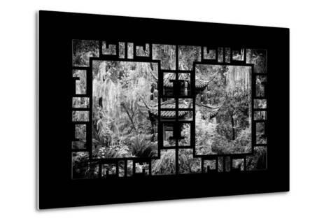 China 10MKm2 Collection - Asian Window - Chinese Pavilion in Garden-Philippe Hugonnard-Metal Print