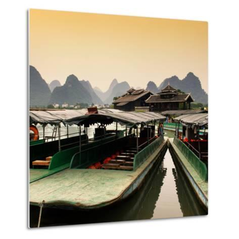 China 10MKm2 Collection - Chinese Boats with Karst Mountains at Sunset-Philippe Hugonnard-Metal Print