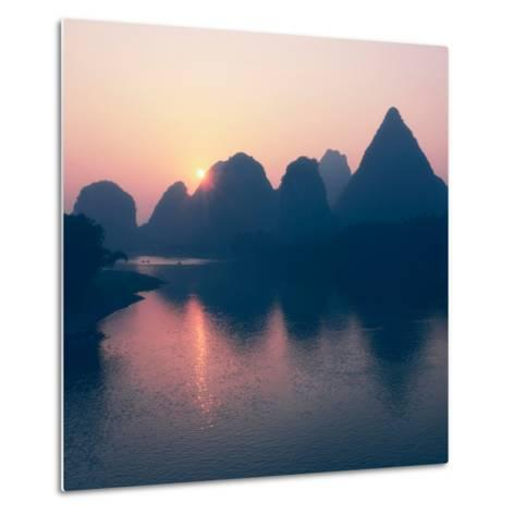 China 10MKm2 Collection - Beautiful Scenery of Yangshuo with Karst Mountains at Pastel Sunrise-Philippe Hugonnard-Metal Print