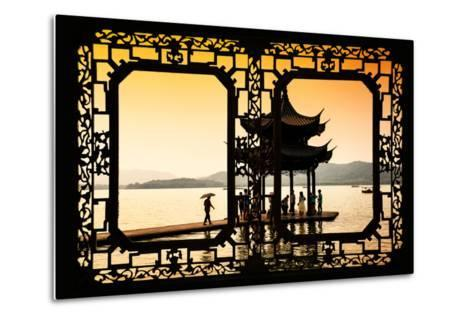 China 10MKm2 Collection - Asian Window - Water Temple at sunset-Philippe Hugonnard-Metal Print