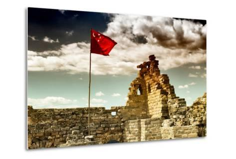 China 10MKm2 Collection - Great Wall with the Chinise Flag-Philippe Hugonnard-Metal Print