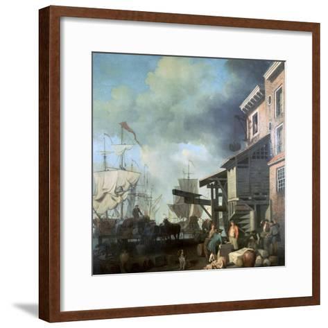 Painting of Old Custom House Quay, 18th Century-Samuel Scott-Framed Art Print