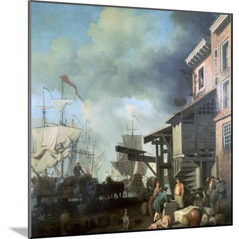 Painting of Old Custom House Quay, 18th Century-Samuel Scott-Mounted Giclee Print