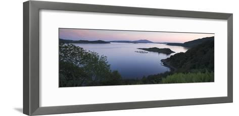 View over Seil Sound to a Salmon Farm and Luing, Slate Islands, Argyll and Bute, Scotland-Peter Thompson-Framed Art Print